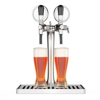 Бар пивной кран с крупным планом пивных бокалов на белом фоне. 3d рендеринг