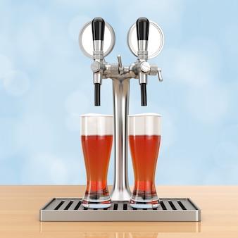 Бар пивной кран с пивными бокалами на деревянном столе. 3d-рендеринг.