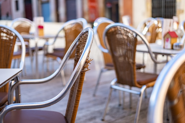 Bar chairs outside