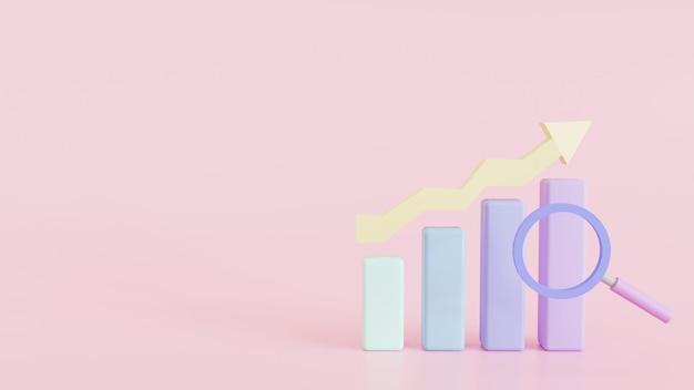 棒グラフアイコングラフ統計ビジネス利益損失検索パステル3dレンダリングイラスト