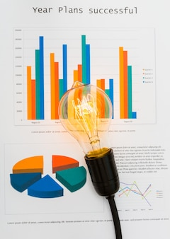 Bar charts with a light bulb on top