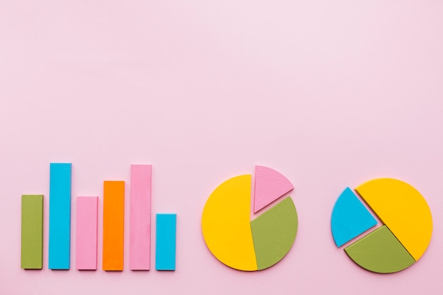 Bar graph and two pie chart on pink background