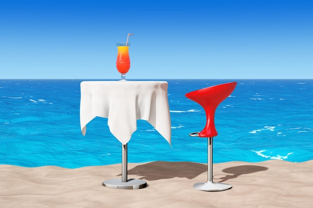 Bar modern  stool near table with red tropical cocktail on the sand sunny beach extreme closeup. 3d rendering