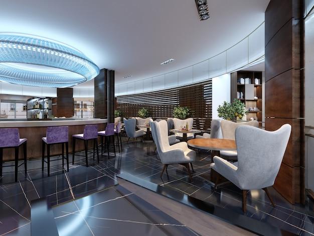 현대적인 스타일의 카운터가 있는 바 레스토랑. 3d 렌더링