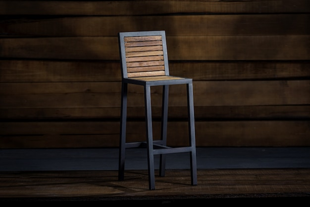 Bar stool with a foldable back, loft-style
