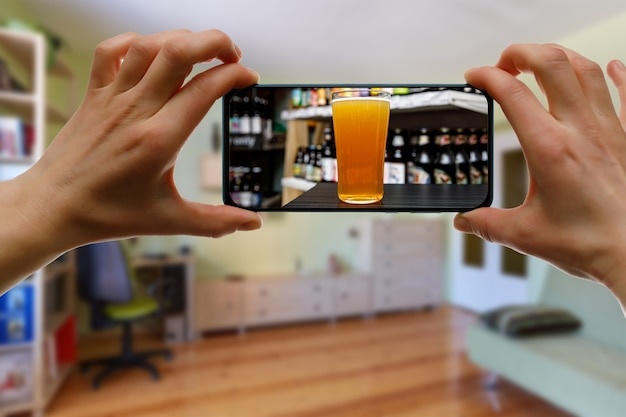 Bar via the internet. using technologies for online drinking at home with friends.