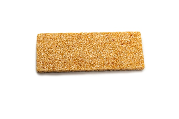 Bar with nuts isolated on a white background.sesame bar.