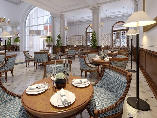 호텔 건물에 원형 서빙 테이블이 있는 바. 3d 렌더링.