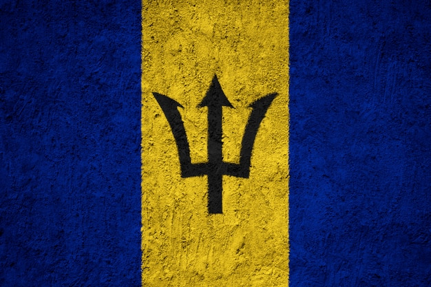 Barbados flag on the grunge concrete wall