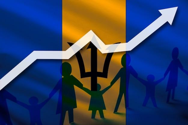 성장하는 화살표의 배경에 바베이도스 국기와 아이들이 손을 잡고 있는 사람들