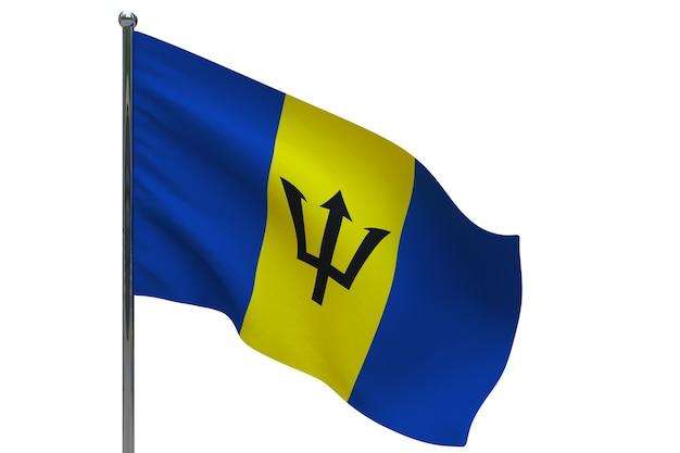 Флаг барбадоса на шесте. металлический флагшток. национальный флаг барбадоса 3d иллюстрация на белом