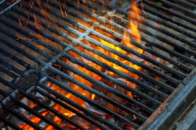 Barbecue grill, hot coal and burning flames. you can see more bbq, grilled food,