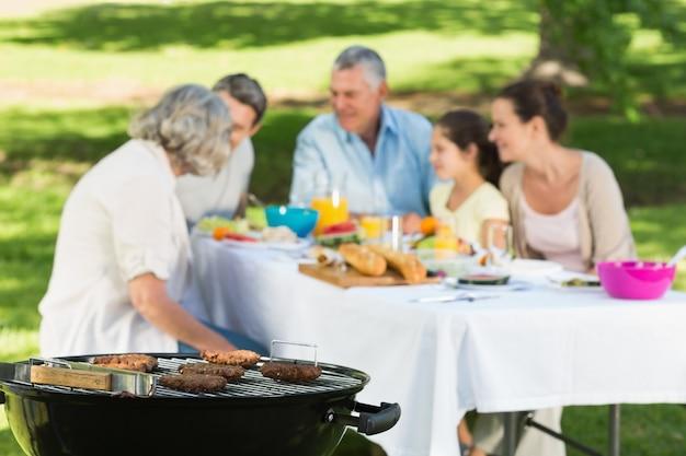 Гриль-барбекю с расширенной семьей, обедающий в парке