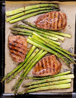 Barbecue grilled beef steak meat with asparagus and herbs