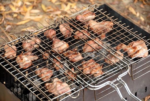 야외 파티. 석탄에 격자로 튀긴 고기.
