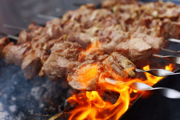 Barbecue in nature in summer. pork meat in the smoke on the coals, healthy food, closeup.