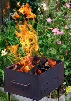 A barbecue in the open air. bonfire with wood on a background of flowers.
