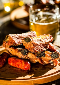 Barbecue pork ribs and sausages