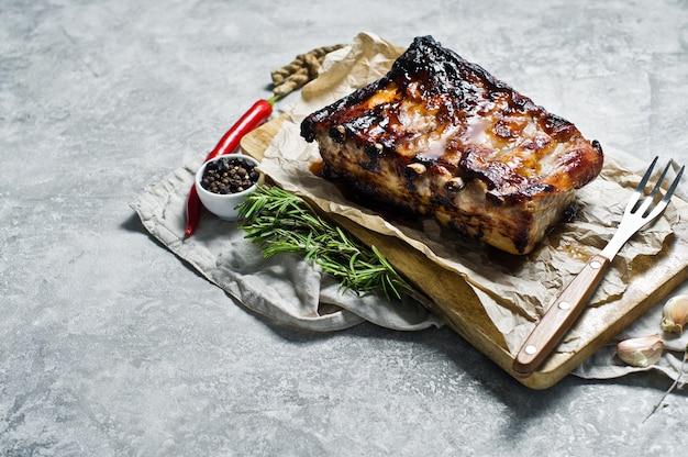 Barbecue pork ribs.