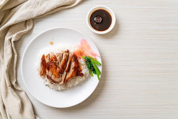 ご飯に鴨のバーベキュー焼き