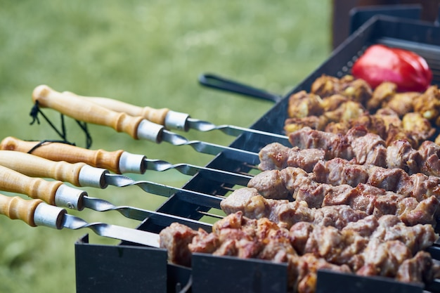 Barbecue shashlik kebab with winglets and tomatoes in chargrill semifinished on skewer side view