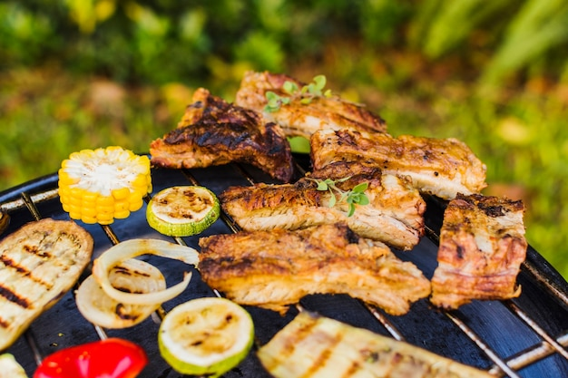 Barbecued vegetables and meat outside on picnic