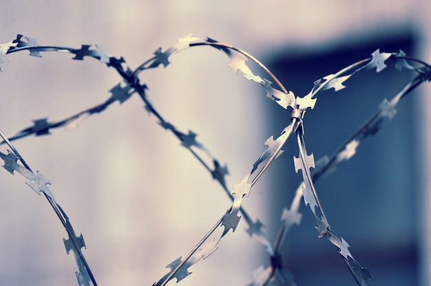 Barbed wire on blurred abstract background