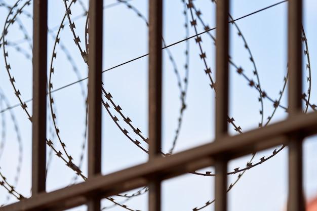 감옥 울타리에 철