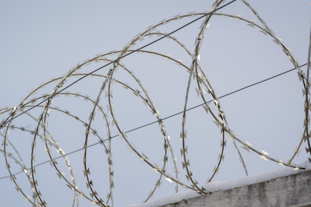 Barbed wire with electric voltage on the top of defensive fence in the prison