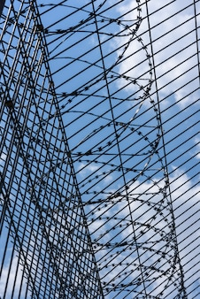 Barbed wire with trellised fence against the blue sky.