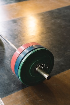 Barbell in gym