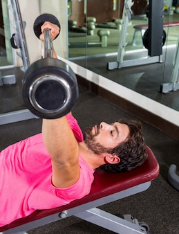 Barbell inclined bench press flyes man workout