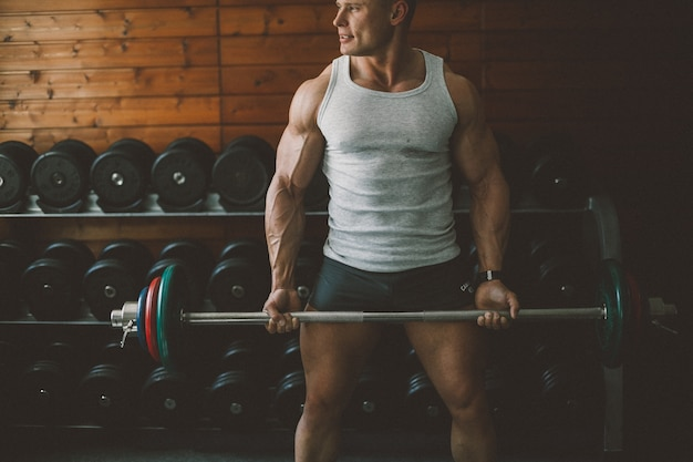 Barbell power strength athlete adult