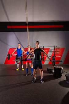 Barbell weight lifting group workout exercise gym