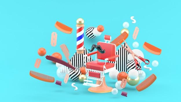Парикмахерское кресло и парикмахерские аксессуары среди разноцветных шариков на синем. 3d-рендеринг.