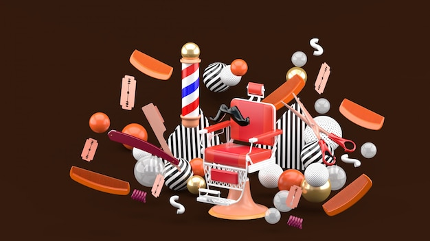 Стул парикмахера и аксессуары парикмахера среди красочных шариков на коричневом цвете. 3d-рендеринг.