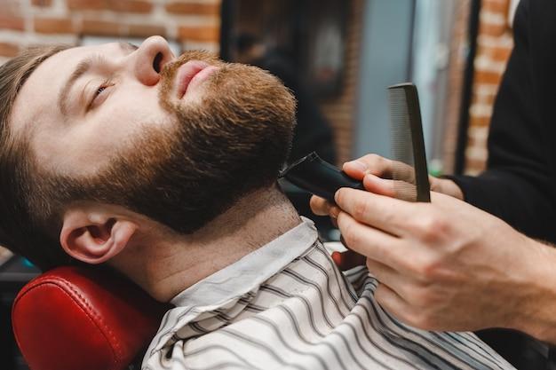 Barber master cuts beard