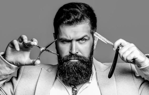 Парикмахерские ножницы и опасная бритва, парикмахерская. черное и белое.