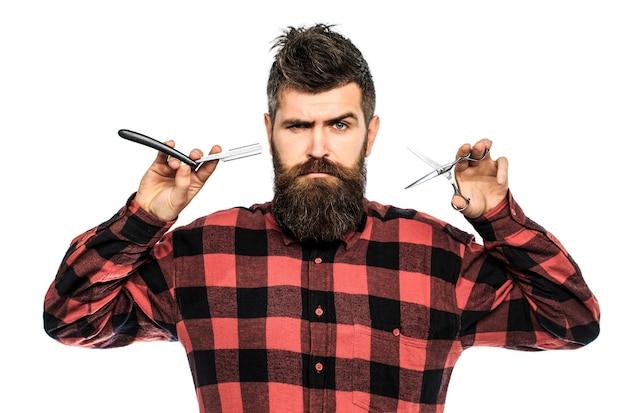 Парикмахерские ножницы и опасная бритва, парикмахерская. мужская стрижка, бритье.