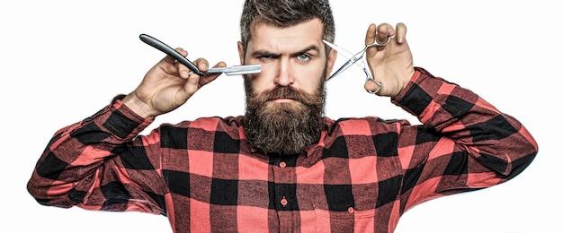 理髪はさみとストレートかみそり、理髪店、スーツ。ヴィンテージ理髪店。