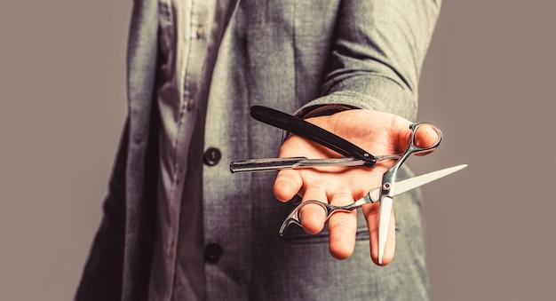 Barber scissors and straight razor, barber shop. mens haircut in barber