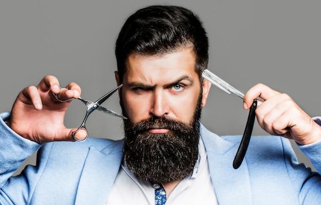 Barber scissors and straight razor, barber shop.