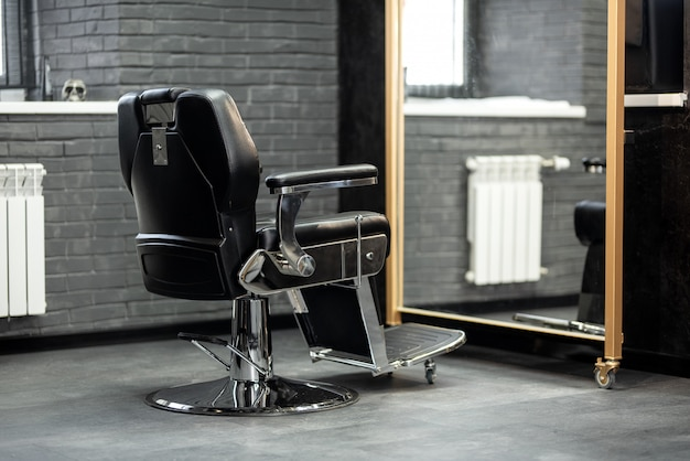 Barber shop chair. stylish vintage barber chair. barbershop armchair.