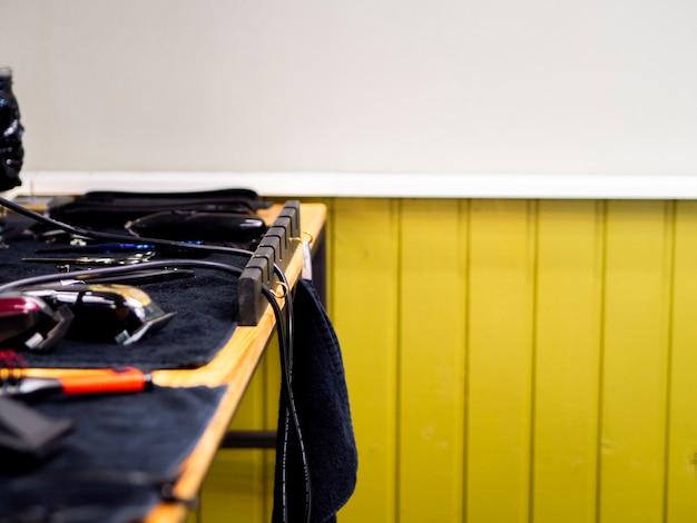 Barber shop desk with copy space