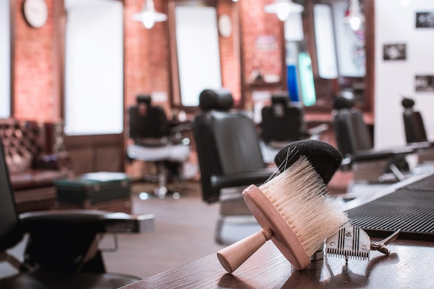 Barber shop equipment on wooden table