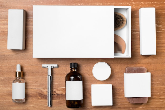 Strumenti e scatole per la toelettatura del negozio di barbiere