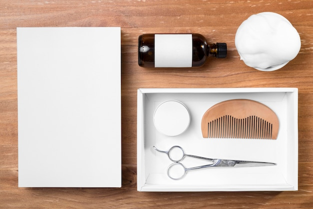 Barber shop grooming tools and oil top view