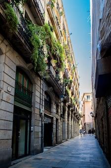 바르셀로나, 카탈로니아, 스페인, 2019년 9월 22일 고딕 지구에서 알 수 없는 사람들이 바르셀로나 거리를 걷고 있습니다.