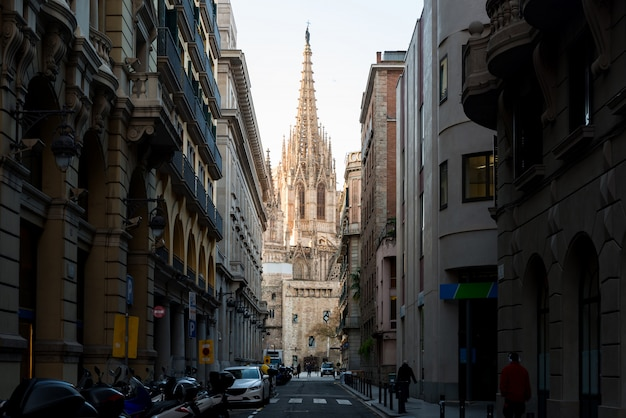 Barcelona cathedral during sunrise, barri gothic quarter in barcelona, catalonia, spain.