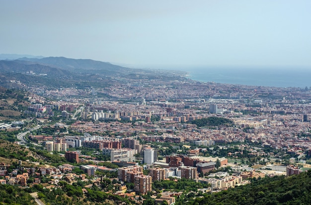 Barcelona city view from the top of tibidabo mountain